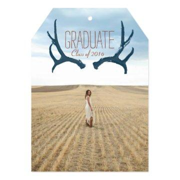 Rustic Antler Graduation Party 5x7  Tag