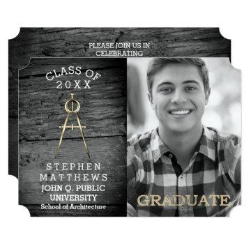 Rustic Architect Architecture Compass Graduation Card