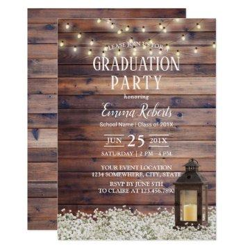 Rustic Barn Lantern String Lights Graduation Party Invitation