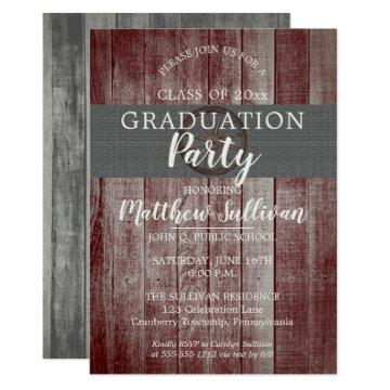 Rustic Barn Wood Wagon Wheel Graduation Party Invitation