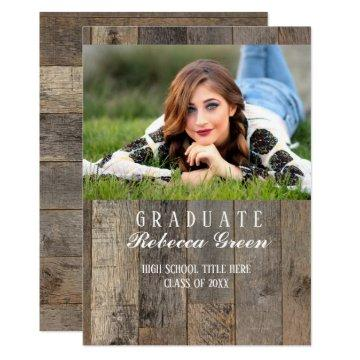 rustic barn wood western country graduation party card