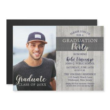Rustic Beach Nautical Photo Graduation Party Magnetic Invitation