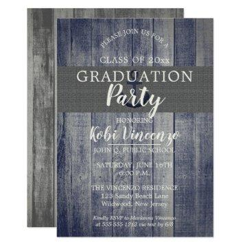 Rustic Beach Wood Nautical Graduation Party Card