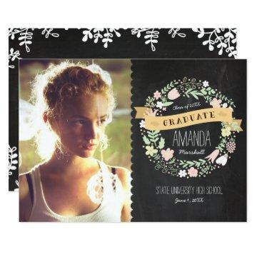 Rustic Boho Wreath Chalkboard Graduation Photo Card