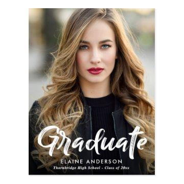 Rustic Brush lettering graduation invitation Postcard
