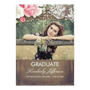 Rustic Burlap Lace Gold Confetti Photo Graduation Card