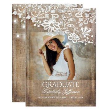 Rustic Burlap Lace String Lights Photo Graduation Card
