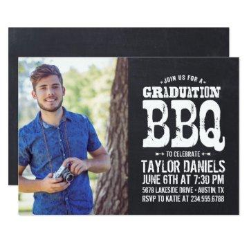 Rustic Chalkboard Graduation Photo BBQ Invitation