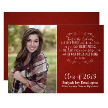 Rustic Christian Bible Verse Red Graduation Photo