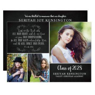 Rustic Christian Graduation Announcement Verse