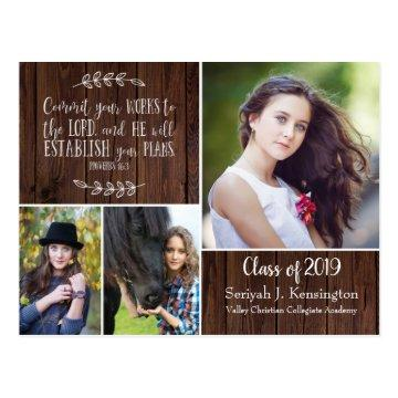 Rustic Christian Graduation Bible Verse | Barn Postcard