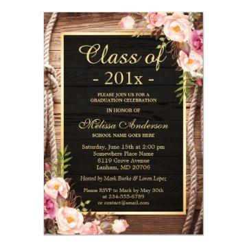 Rustic Country Class of 2020 Graduate Wood Floral Invitation