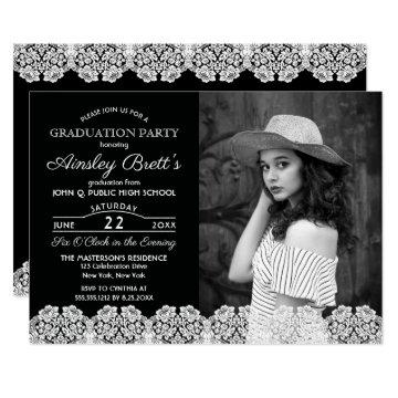 Rustic Country Lace | Photo Graduation Party Invitation