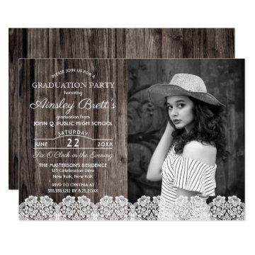 Rustic Country Lace | Wood Photo Graduation Party Card