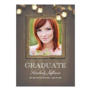 Rustic Country Mason Jar Lights Photo Graduation Card
