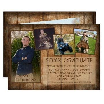 Rustic Country Wood | 20XX GRADUATE | 5-Photo Card