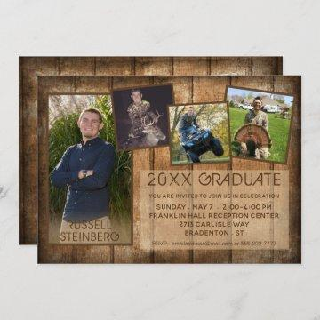 Rustic Country Wood | 20XX GRADUATE | 5-Photo Invitation