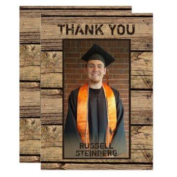 Rustic Country Wood Graduation Thank You Card