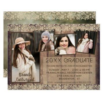 Rustic Country Wood & Lace | GRADUATE | 5-Photo Invitation