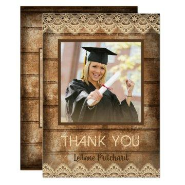 Rustic Country Wood & Lace Graduation Thank You Card