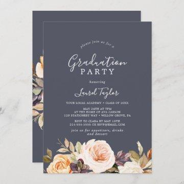 Rustic Earth Florals | Purple Graduation Party Invitation