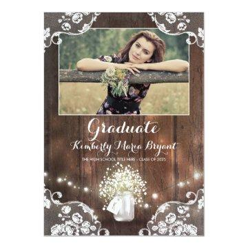Rustic Floral Mason Jar Photo Graduation Party Card