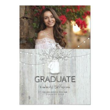 Rustic Floral Mason Jar Photo Graduation Party Invitation