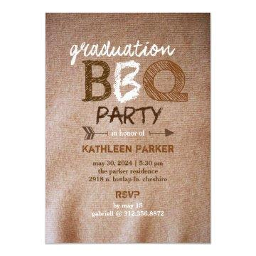 Rustic Graduation BBQ Party Card