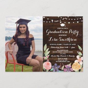 Rustic Graduation Flowers Lights Wood Photo Invitation