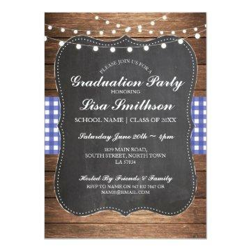Rustic Graduation Party Blue Check Wood Invite