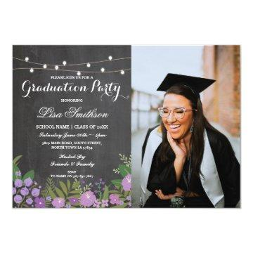 Rustic Graduation Party Chalk Lilac Flowers Photo Invitation