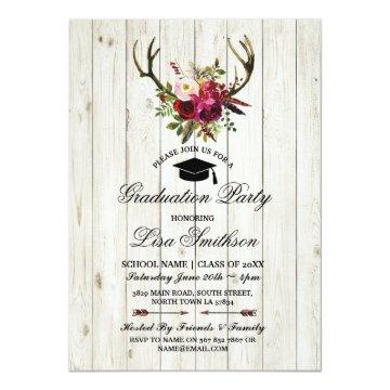 Rustic Graduation Party Floral Antlers Stag Invite