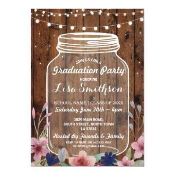 Rustic Graduation Party Jar Wood Flowers Invite