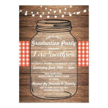 Rustic Graduation Party Jar Wood Red Gingham Invitation