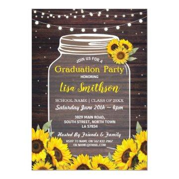 Rustic Graduation Party Jar Wood Sunflower Invite