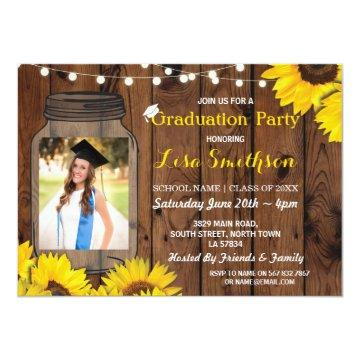 Rustic Graduation Party Jar Wood Sunflower Photo Invitation