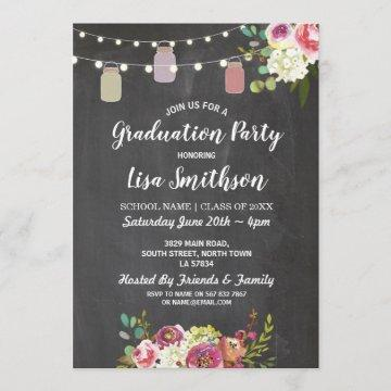 Rustic Graduation Party Jars Chalk Flowers Invite
