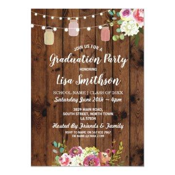 Rustic Graduation Party Jars Wood Flowers Invite