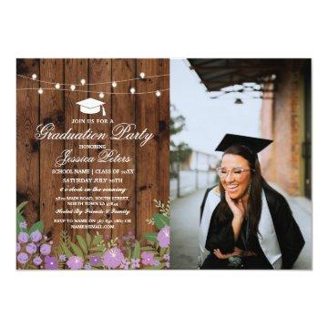 Rustic Graduation Party Purple Floral Wood Photo Invitation