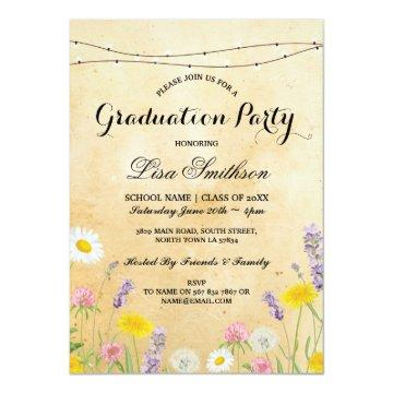 Rustic Graduation Party Wild Flowers Floral Invite