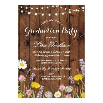 Rustic Graduation Party Wild Flowers Wood Invite