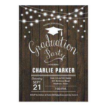 Rustic Graduation Party Wood Pattern Invitation