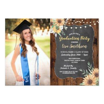 Rustic Graduation Party Wood Sunflower Chalk Invitation