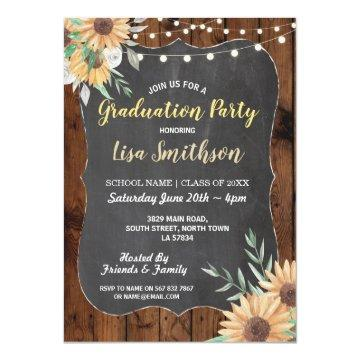 Rustic Graduation Party Wood Sunflower Invite