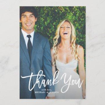 Rustic Hand Lettering Photo Wedding Thank You