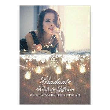 Rustic Mason Jar Lights Photo Graduation Party Card