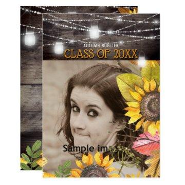 Rustic Mason Jar Lights Sunflower Photo Graduation Invitation