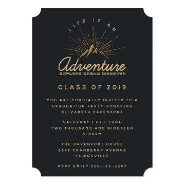 Rustic Mountains with Sunrays Graduate Invitation