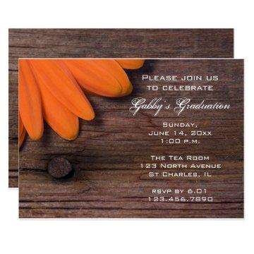 Rustic Orange Daisy Graduation Party