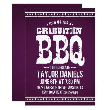 Rustic Purple Graduation Party BBQ Invitation